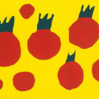 YA-11「アカイ トマト 」 2021年 160×227  アクリル・キャンバス 額装済価格:36,000円 作品のみ:26,000円