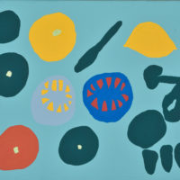YA-04「キイロレモン ミドリレモン 」 2016年   220×273  アクリル・キャンバス  額装済価格:40,000円 作品のみ:30,000円