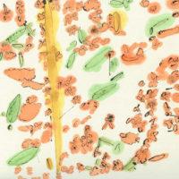 「キンモクセイ」  2019 年   297×300   水彩、墨、和紙    32,000円(額装済)