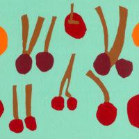 YA-12「アカイリンゴ  サクランボ 」 2021年  242×336 アクリル・キャンバス 額装済価格:46,000円 作品のみ:34,000円