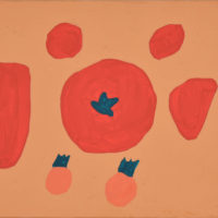YA-03「アカイ トマト 」 2018年 157×228  アクリル・キャンバス  額装済価格:36,000円 作品のみ:26,000円