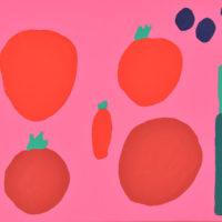 YA-05「アカイトマト アカイトウガラシ 」 2017年  380×454  アクリル・キャンバス  額装済価格:75,000円 作品のみ:60,000円
