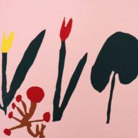 YA-08「 アカイチューリップ  ハッパ」 2021年  318×410   アクリル・キャンバス  額装済価格:51,000円 作品のみ:38,000円