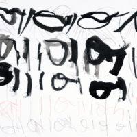 RS-06「 はな」 2005年  266×391    カレコンテ・墨・紙  額装済価格:46,000円 作品のみ:36,000円